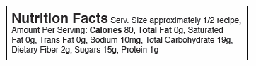 Nutrition Facts Serv. Size approximately 1/2 recipe, Amount Per Serving: Calories 80, Total Fat 0g, Saturated Fat 0g, Trans Fat 0g, Sodium 10mg, Total Carbohydrate 19g, Dietary Fiber 2g, Sugars 15g, Protein 1g