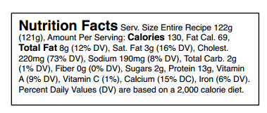Nutrition Facts Serv. Size Entire Recipe 122g (121g), Amount Per Serving: Calories 130, Fat Cal. 69, Total Fat 8g (12% DV), Sat. Fat 3g (16% DV), Cholest. 220mg (73% DV), Sodium 190mg (8% DV), Total Carb. 2g (1% DV), Fiber 0g (0% DV), Sugars 2g, Protein 13g, Vitamin A (9% DV), Vitamin C (1%), Calcium (15% DC), Iron (6% DV). Precent Daily Values (DV) are based on a 2,000 calorie diet.