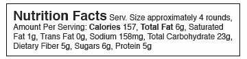 Nutrition Facts Serv. Size approximately 4 rounds, Amount Per Serving: Calories 157, Total Fat 6g, Saturated Fat 1g, Trans Fat 0g, Sodium 158mg, Total Carbohydrate 23g, Dietary Fiber 5g, Sugars 6g, Protein 5g