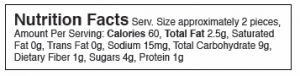 Nutrition Facts Serv. Size approximately 2 pieces, Amount Per Serving: Calories 60, Total Fat 2.5g, Saturated Fat 0g, Trans Fat 0g, Sodium 15mg, Total Carbohydrate 9g, Dietary Fiber 1g, Sugars 4g, Protein 1g